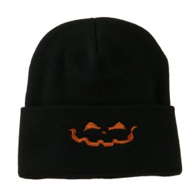 Halloween Jack o Lantern Face Embroidered Long Beanie