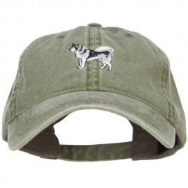 Husky Dog Embroidered Washed Cotton Twill Cap