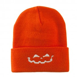 Halloween Jack o Lantern Face Embroidered Long Beanie - Orange