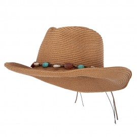Women's Paper Braid Seashell Tie Accented Pinched Crown Cowboy Hat