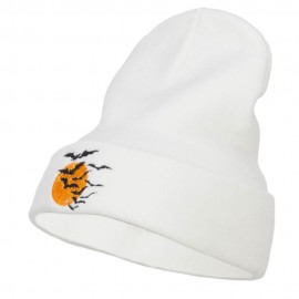 Bats Moon Halloween Embroidered Long Beanie