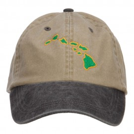 Hawaii Map Embroidered Washed Two Tone Cap