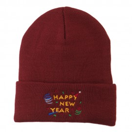 Happy New Year Embroidered Beanie - Maroon