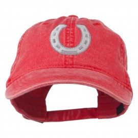 Western Horseshoe Embroidered Washed Cap - Red