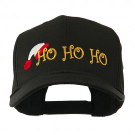 Christmas Ho Ho Ho with Hat Embroidered Cap - Black