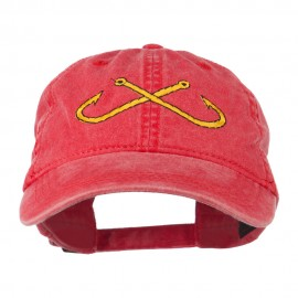 Fishing Crossed Fishhooks Embroidered Washed Cap