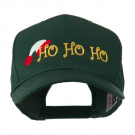 Christmas Ho Ho Ho with Hat Embroidered Cap - Green
