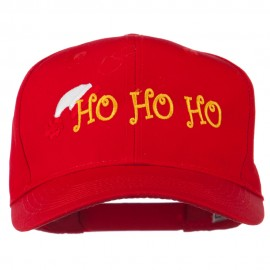 Christmas Ho Ho Ho with Hat Embroidered Cap - Red