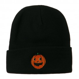 Halloween Happy Pumpkin Face Embroidered Long Beanie