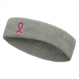 Hot Pink Ribbon Breast Cancer Embroidered Head Band