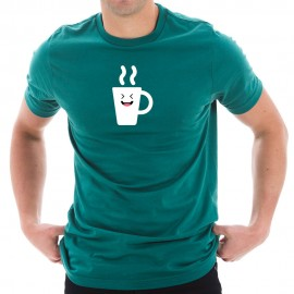 Happy Coffee Cup Graphic Design Short Sleeve Cotton Jersey T-Shirt