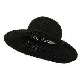 Handmade Crocheted Roll Up Hat - Black