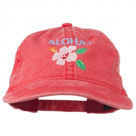 Hawaii Flower Aloha Embroidered Washed Cap - Red