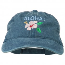 Hawaii Flower Aloha Embroidered Washed Cap - Navy