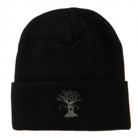 Halloween Spooky Tree Embroidered Long Beanie