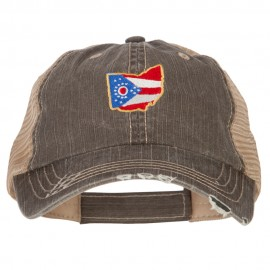 Ohio State Map Flag Embroidered Low Profile Cotton Mesh Cap