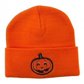 Halloween Smiley Jack o Lantern Embroidered Long Beanie