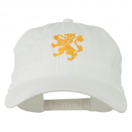 Heraldic Lion Embroidered Washed Cotton Twill Cap