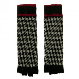 14 Inches Herringbone Fingerless Glove - Black White