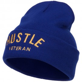 Hustle Veteran Embroidered Long Beanie