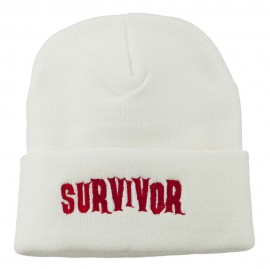 Halloween Survivor Embroidered Long Beanie
