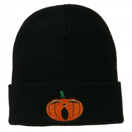 Halloween Yawning Jack o Lantern Embroidered Long Beanie