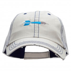 The Throwing Dart Embroidered Frayed Mesh Cap