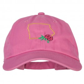 Iowa Wild Prairie with Map Embroidered Unstructured Washed Cap