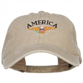 Bald Eagle America Embroidered Washed Cap