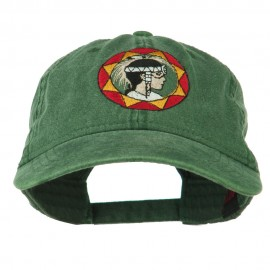 Indian Boy Embroidered Washed Cap - Dark Green