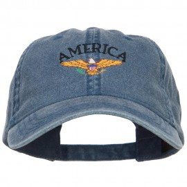 Bald Eagle America Embroidered Washed Cap - Navy