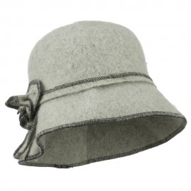 Women's Boiled Contrast Stitching Wool Bucket Hat