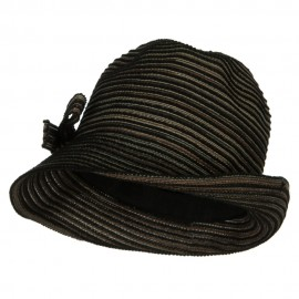 UPF 40+ Poly Braid Slanted Fedora - Black