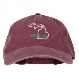 Michigan with Map Outline Embroidered Washed Cotton Twill Cap