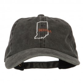 Indiana with Map Outline Embroidered Washed Cotton Twill Cap
