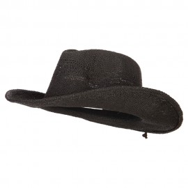 Ladies Paper Straw Open Woven Cowboy Hat
