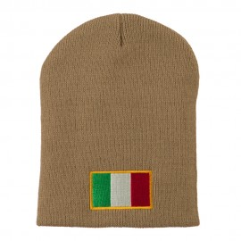 Europe Italy Flag Embroidered Short Beanie
