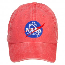 NASA Insignia Embroidered Washed Cap - Red