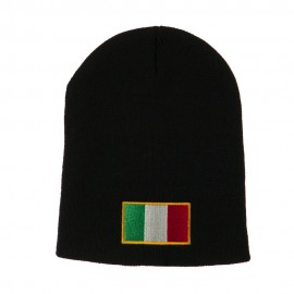 Europe Italy Flag Embroidered Short Beanie - Black