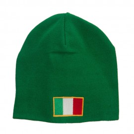 Europe Italy Flag Embroidered Big Short Beanie