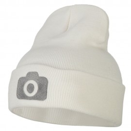 Camera Design Photographer Embroidered Knitted Long Beanie