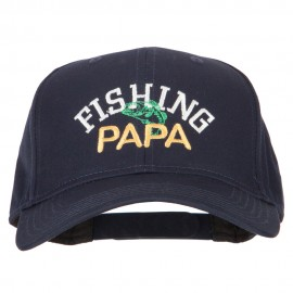 Fishing Papa Embroidered Solid Cotton Pro Style Cap