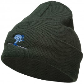 Skiing Embroidered 12 Inch Long Beanie