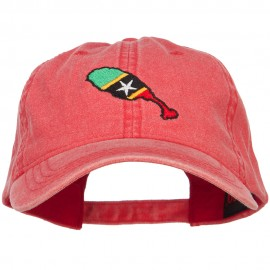 Saint Kitts and Nevis Map Flag Embroidered Washed Cap
