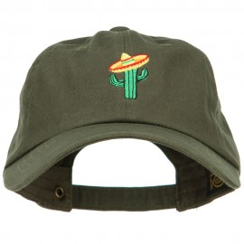 Cactus with Sombrero Embroidered Unstructured Cap