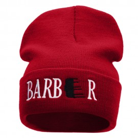 Barber Embroidered 12 Inch Long Knitted Beanie