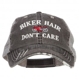 Biker Hair Don't Care Embroidered Cotton Mesh Cap