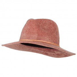 Women's String Band Trim Large Brim Chenille Fedora Hat