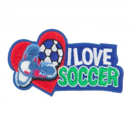 I Love Soccer Embroidered Patches