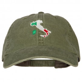 Italy Flag Map Embroidered Washed Cotton Twill Cap